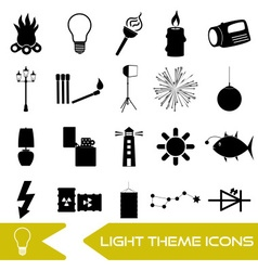 Light theme modern simple black icons light source vector