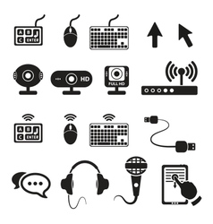 Set of computers and hardware icons vector image