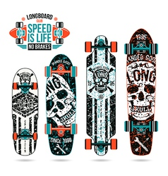 Set of skull prints on longboard vector