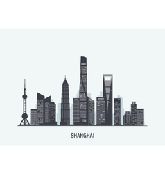 Shanghai skyline silhouette vector image vector image