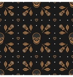 Skull seamless pattern Art Deco vector image vector image
