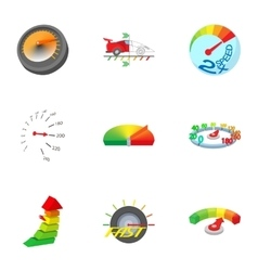 Speedometer icons set cartoon style vector