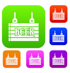 Street signboard of beer set collection vector