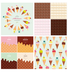 Sweets big set ice cream cone seamless pattern vector