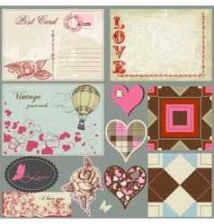 vintage love set vector image