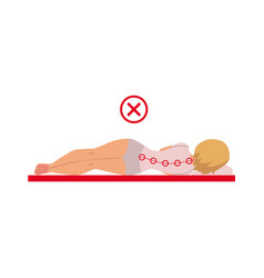 Woman lying on her side in bad sleep position vector