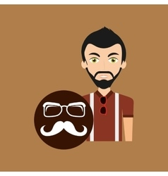 Young hipster man long mustache and glasses vector