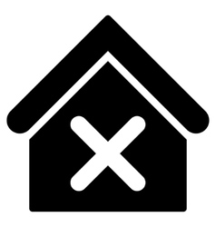 Wrong house flat icon vector
