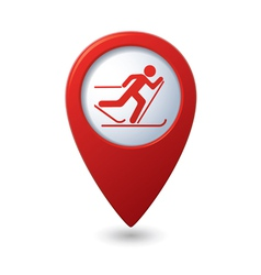 Map pointer with ski track icon vector