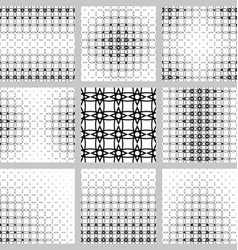 Black white curved shape grid pattern design set vector image