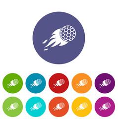 Burning golf ball icons set flat vector