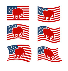 Elephant flag republican national flag of vector