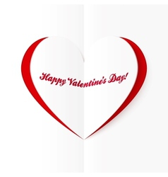 Red and white cutout heart valentines card vector