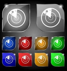 Radar icon sign set of ten colorful buttons with vector