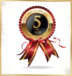 5 year anniversary label vector image vector image
