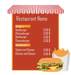 Fast food menu vector