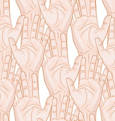 Raised hands seamless pattern horizontal vector
