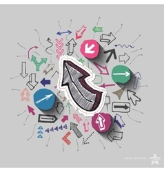 Arrows collage with icons background vector