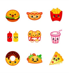 Kawaii fast-food vector