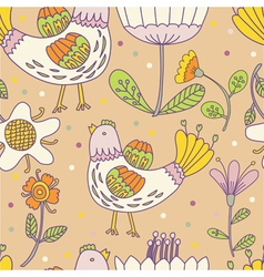 hens and flowers pattern vector image