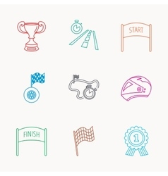 Winner cup and award icons race flag signs vector