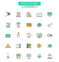 Flat line color icons banking and finance vector