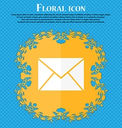 Mail envelope icon floral flat design on a blue vector
