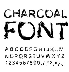 Charcoal font letters from charcoal black tattered vector