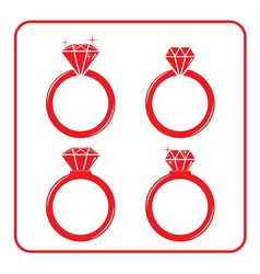 Diamond engagement ring icons set 3 red vector