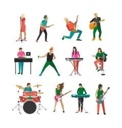 Set of rock musicians and singers music vector