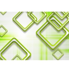 Abstract green squares tech grunge background vector