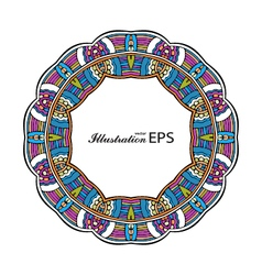 Acid color ethnic mexican tribal mandala round vector image