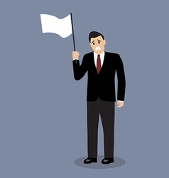 Businessman holds white flag of surrender vector image vector image