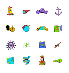 columbus day set icons set cartoon vector image