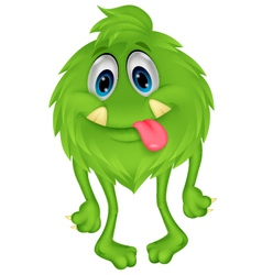 Cute hairy green monster cartoon vector