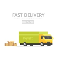 Delivery car and set of cardboard boxes vector image vector image