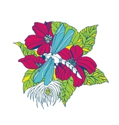 Dragonfly with flowers vector image