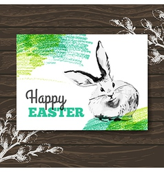Easter card sketch watercolor easter rabbit vector