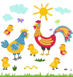 farm birds family cartoon flat rooster hen vector image vector image