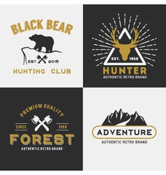Forest mountain adventure logo design vector