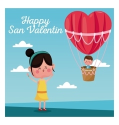 Happy san valentine girl happy boy heart vector