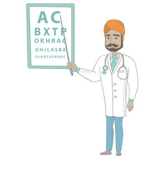 Indian ophthalmologist pointing at eye chart vector