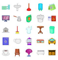 Inn icons set cartoon style vector