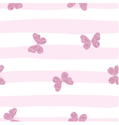 purple pink glittering butterflies on striped vector image vector image