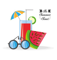 set summer icon over white background vector image vector image