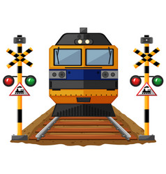 train on the railroad vector image
