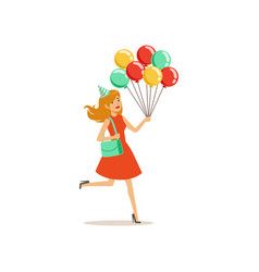young pretty girl with multicolored balloons hurry vector image