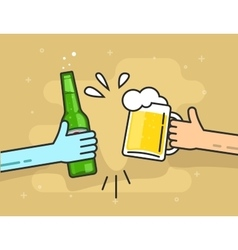 Hands beer glass and bottle toasting happy vector