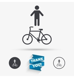 Bicycle and pedestrian trail icon cycle path vector