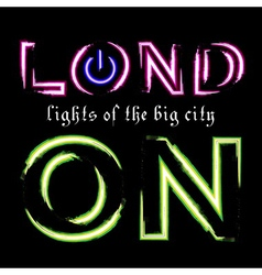 T shirt typography graphic london city neon vector